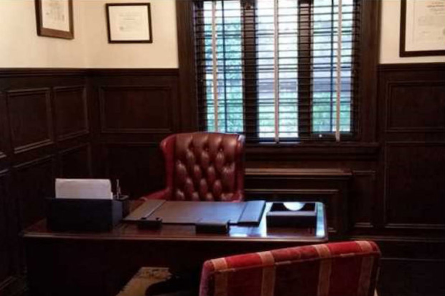 "One of the two offices inside 110 Longfellow Ave. was remodeled to mimic Don Vito Corleone's office in ""The Godfather."""