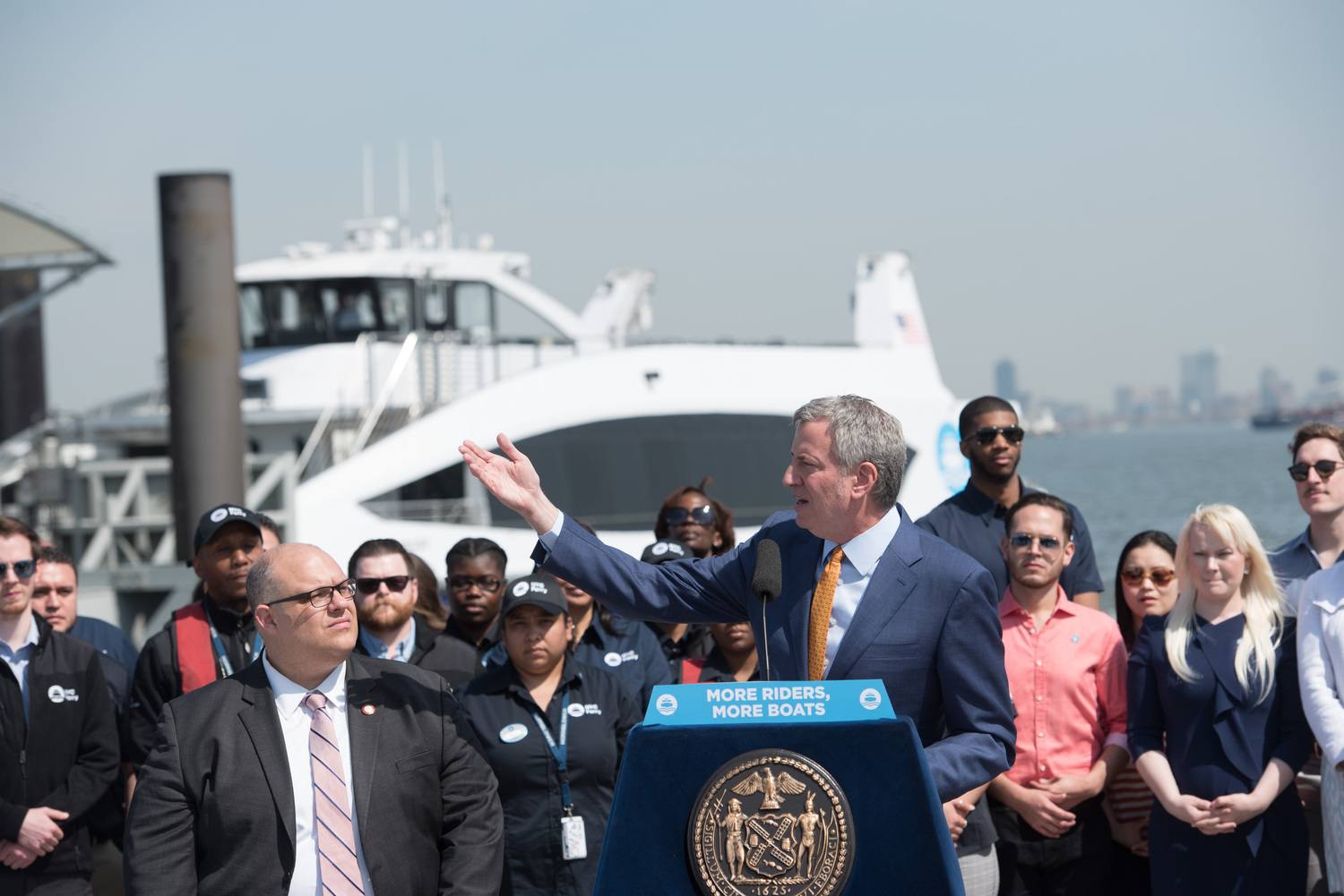 NYC Ferry announcement | Mayor Bill de Blasio announces an increase in service and vessels for NYC Ferry to meet the demand of a projected 9 million annual riders during a press conference at the Bay Ridge terminal in Brooklyn on Thursday, May 3, 2018. Michael Appleton/Mayoral Photography Office.
