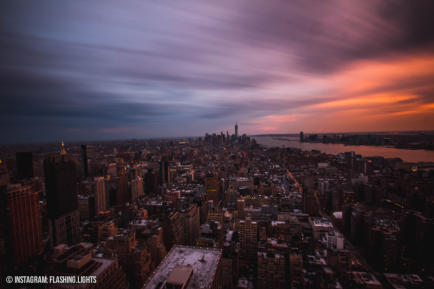 A beautiful sunset over downtown New York City.