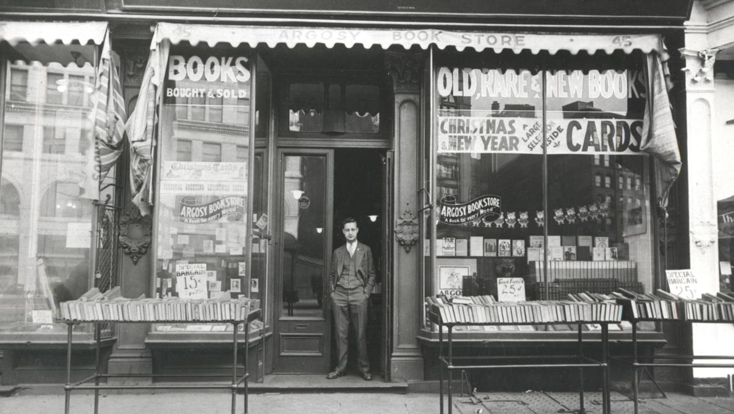 Original owner Louis Cohen opening the Argosy Bookstore in 1925