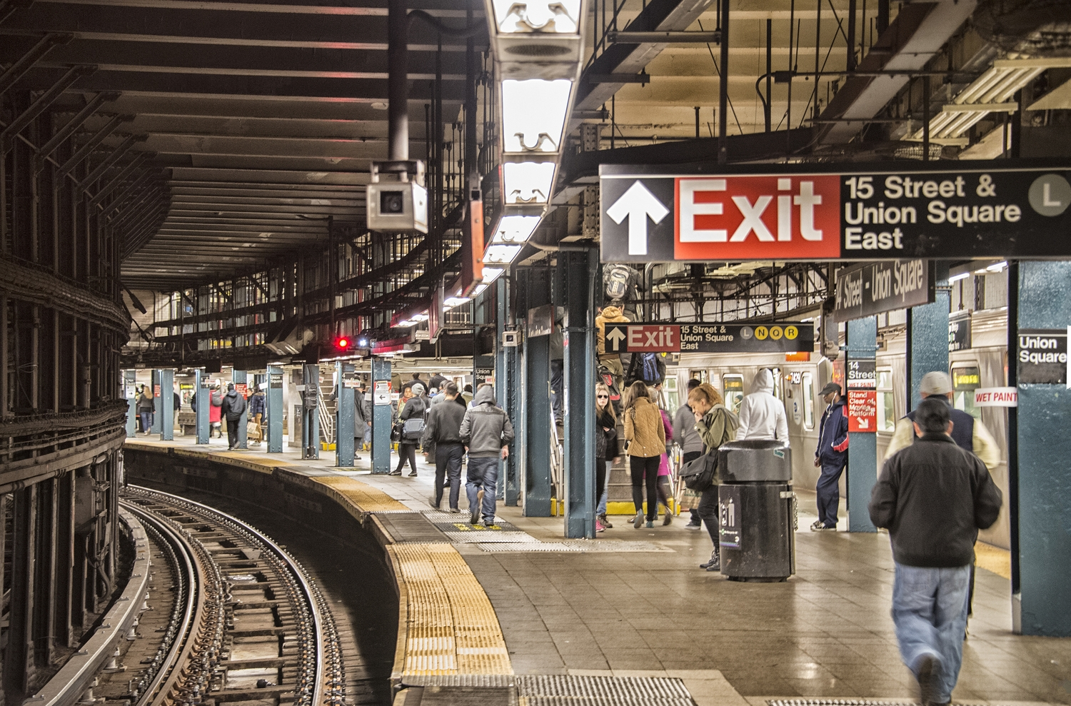 14th Street Union Square Subway | The Downtown 4/5 Track, with a City Hall bound 6 train on the extreme right.