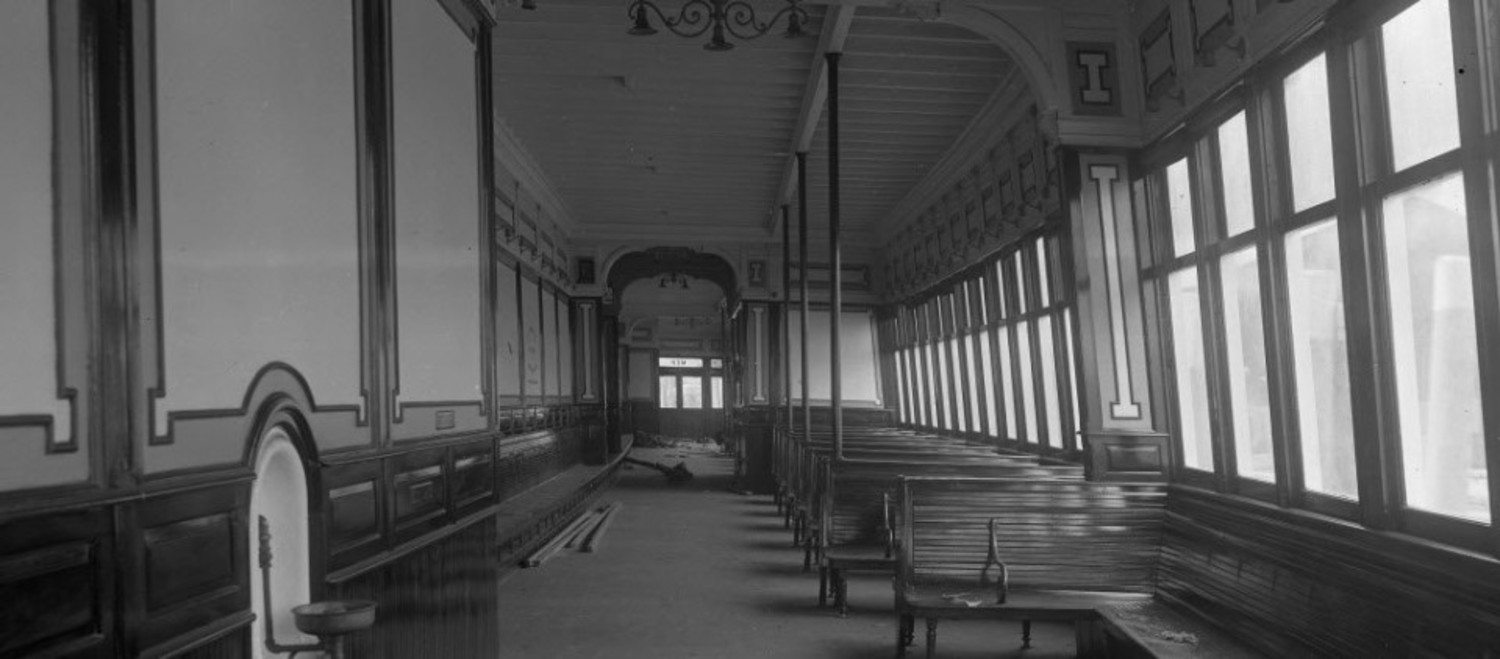 The interior view of the men's cabin aboard the ferry boat Manhattan, circa 1920.