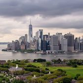 Governors Island and Lower Manhattan, New York.