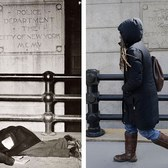 A man is pictured lying drunk on the ground on Center Street in a 1945 picture called 'Derelict sleeping on the sidewalk outside police headquarters' (left). A woman walks past the same engraved sign for the former Police Department on March 18 this year (right)