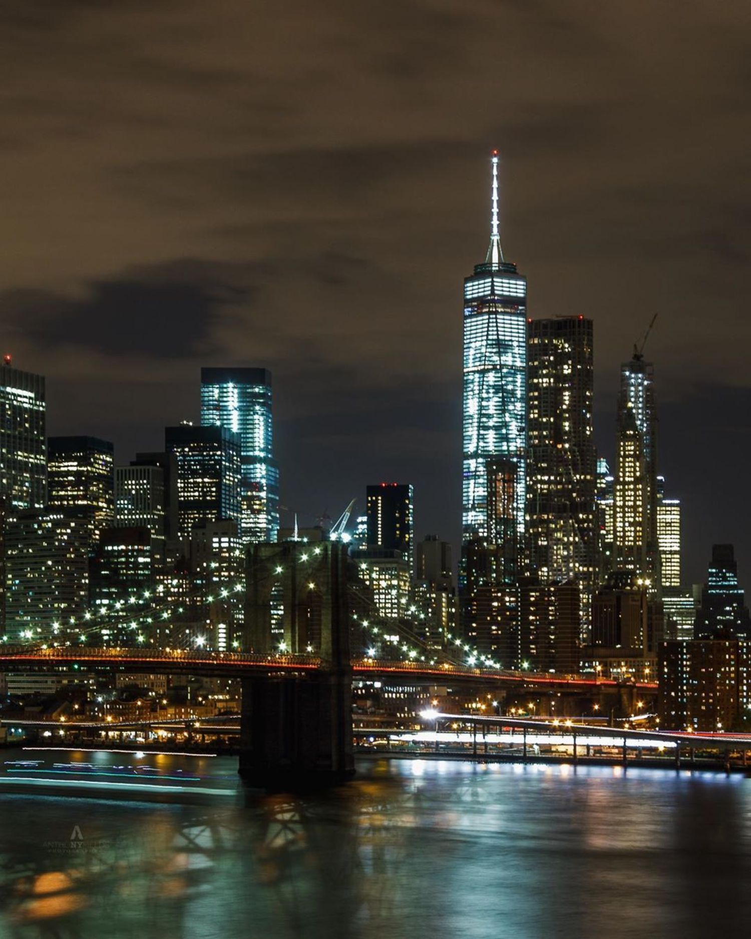 Brooklyn Bridge and Lower Manhattan from BRooklyn Bridge Parkk
