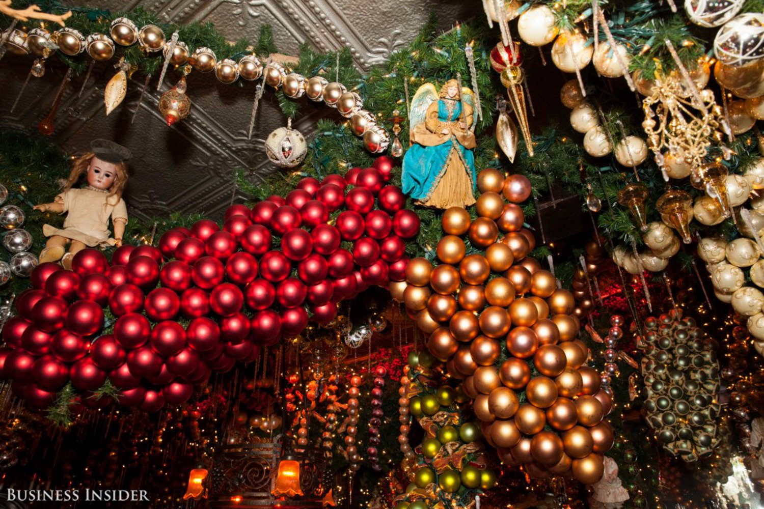 About 15,000 ornaments are hung from the ceiling.