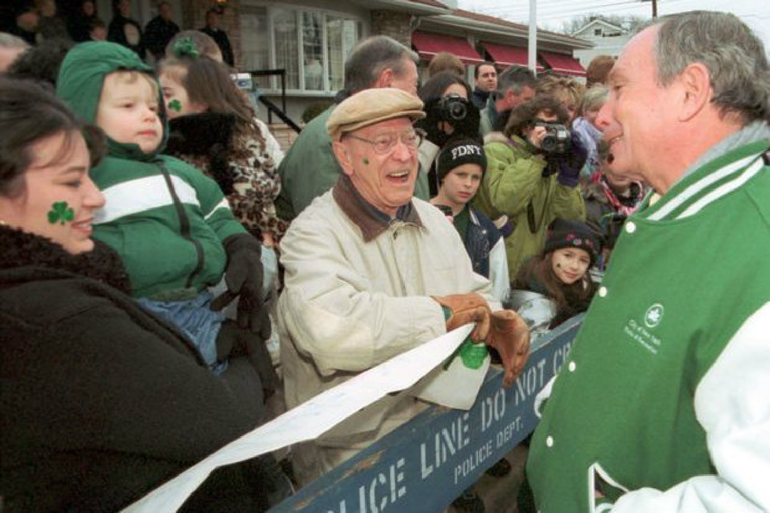 In 2002, Staten Islanders greet Mayor Mike Bloomberg at the St. Patrick's Day Parade.