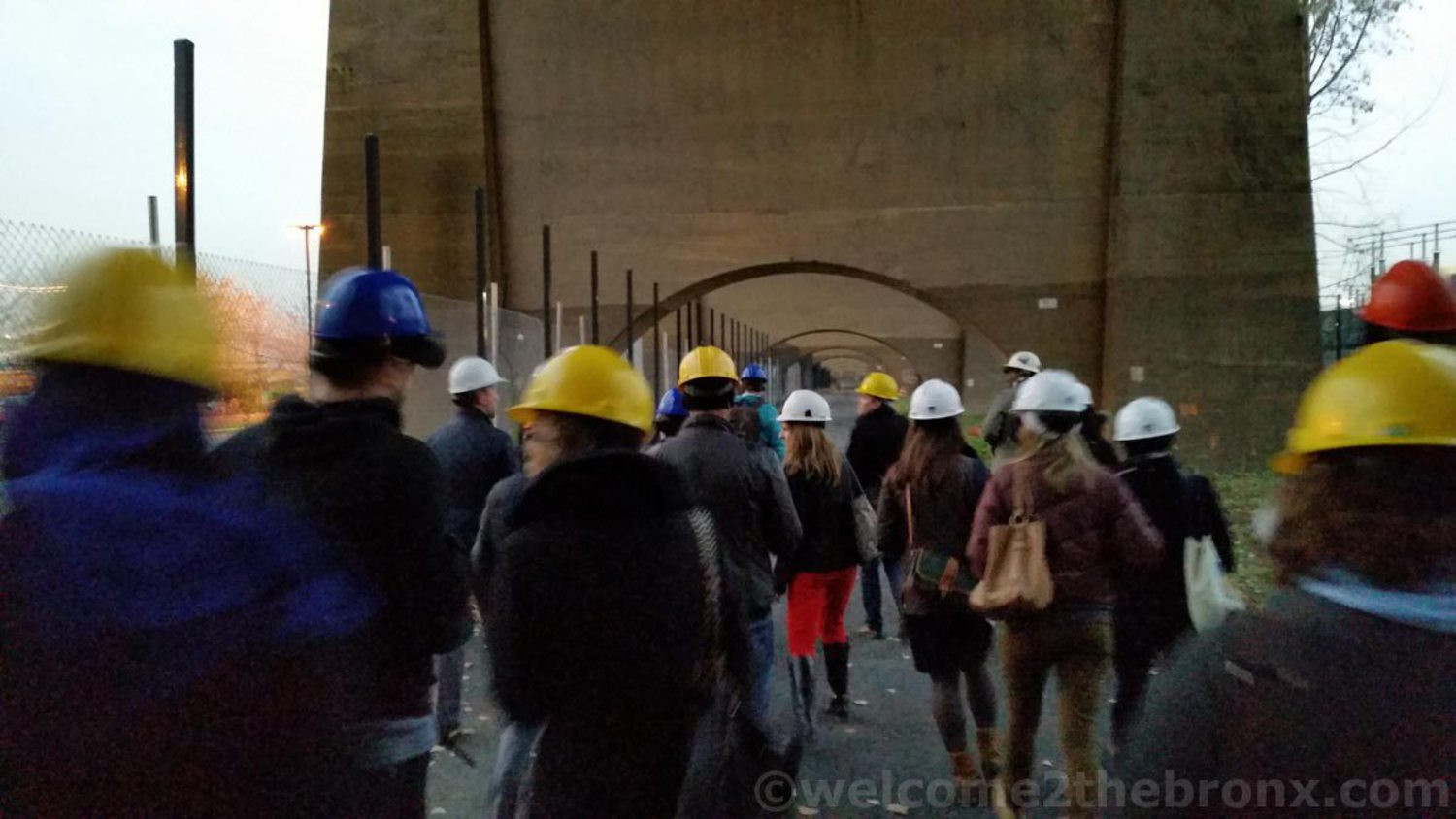 Tour participants walked along the 1/4 mile path under the Amtrak bridge leading to the bridge connecting The Bronx with Randall's Island last November 2014.