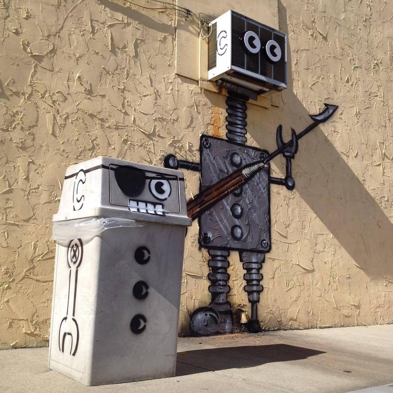 #tbt #harpoon #robot #airconditioner #head #👀 #trashcan #sidekick #oneeye #newbedford #massachusetts #streetart #🐳#🤖#nbma #stencil #streetart #tombobnyc #stencilart #tombob #pegleg #ahab