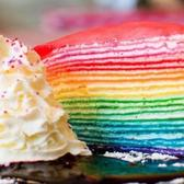 The gorgeous rainbow crepe cake available at Dek Sen.