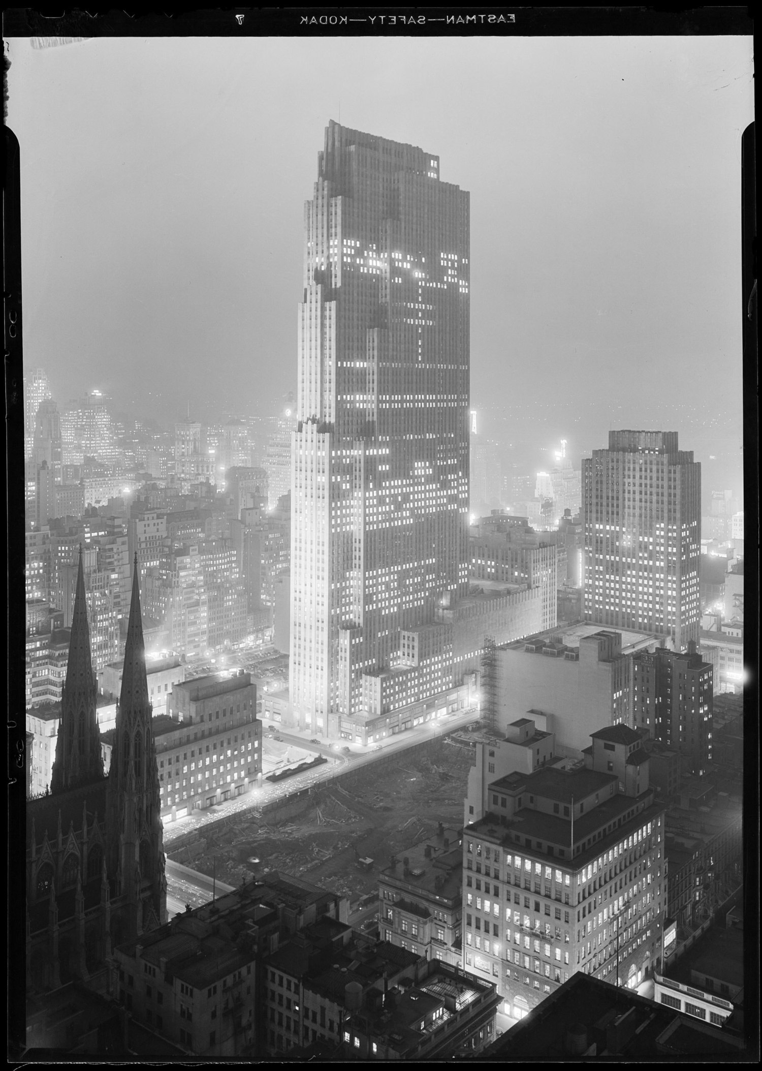 New York City views. Rockefeller Center and RCA Building from 515 Madison Ave.