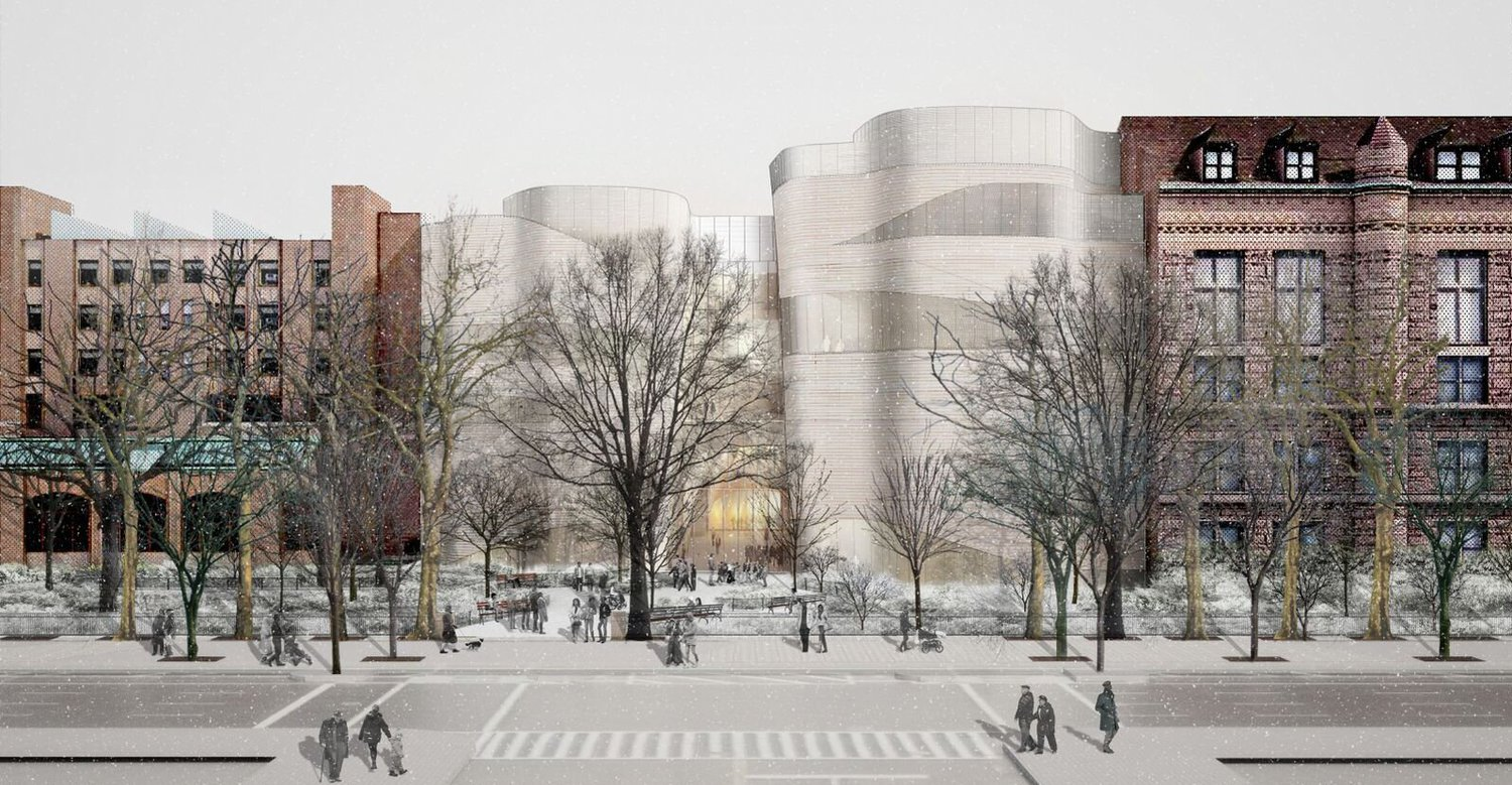 A rendering of the proposed exterior of the new building as seen from West 79th Street and Columbus Avenue.