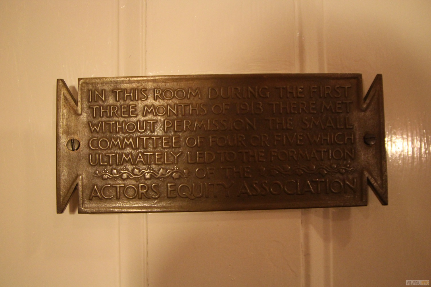 Actor's Equity Association Founding Plaque