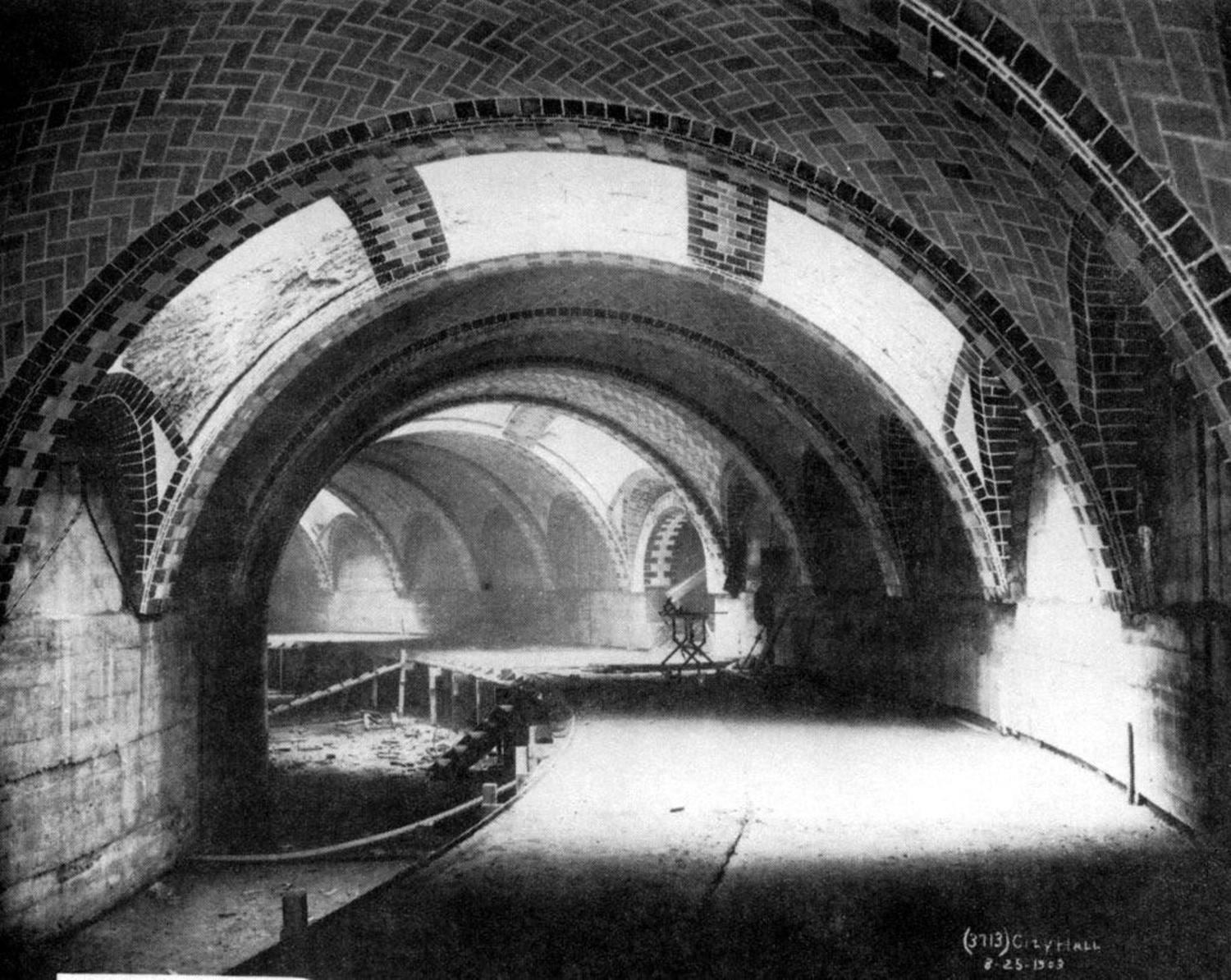 """""""Construction of New York City Hall Subway Station"""" Credit: Board of Rapid Transit Railroad Commissioners"""