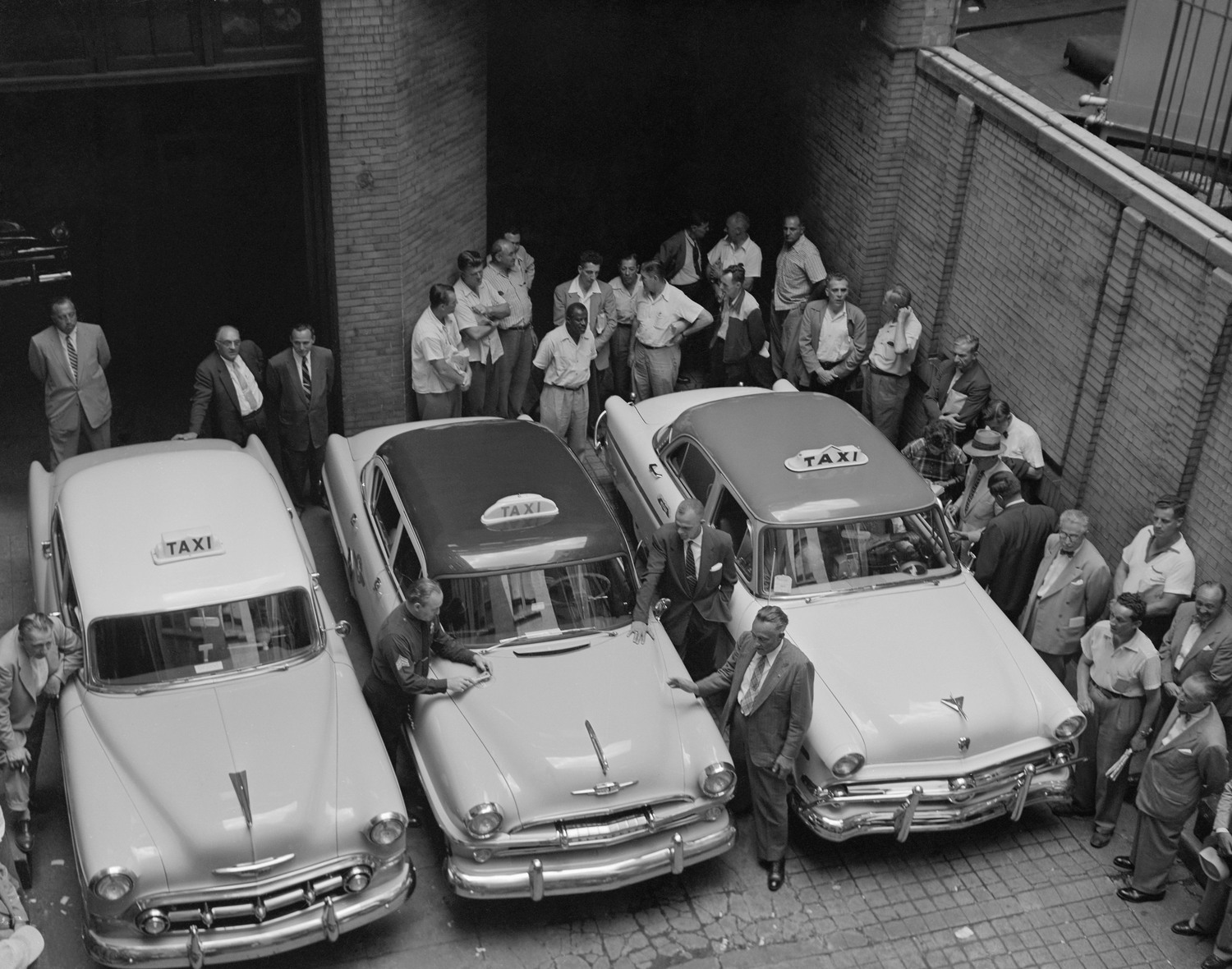 Representative models of the three makes of autos which meet the new specifications for service as New York taxi cabs get a going-over by officials at the Police Division of Licenses Headquarters, July 15, 1954. Left to right, the new stock model small taxis expected to be on the streets by July 16th are: A Chevrolet, a Plymouth, and a Ford.