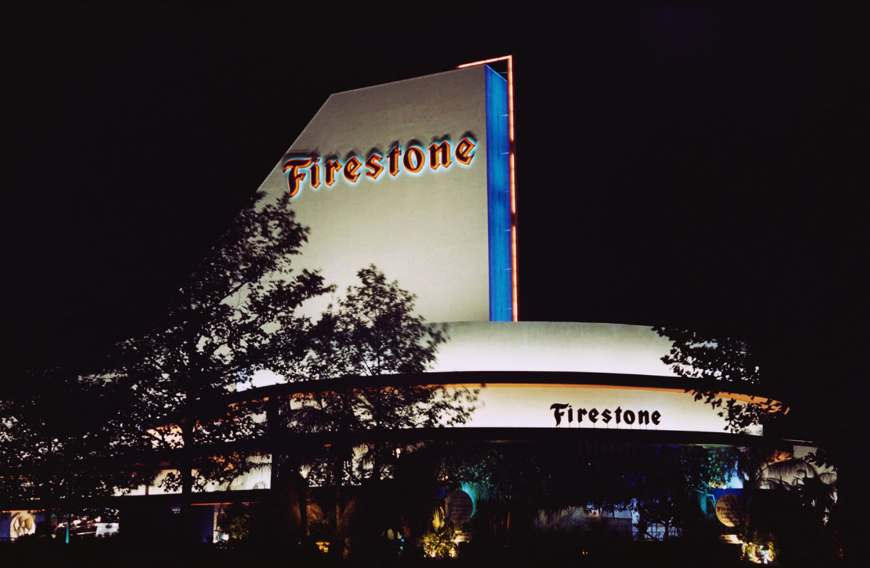The Firestone Pavilion at night.
