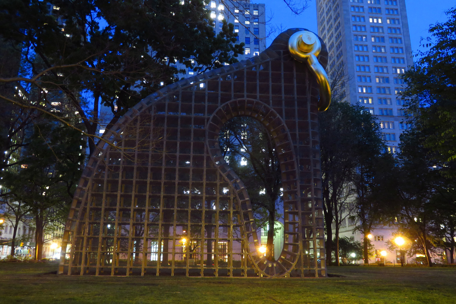 "Big Bling | <i>Big Bling</i> by Martin Puryear will officially go on view in Madison Square Park next week, but I was there this evening.  ""At forty feet high, Big Bling will achieve colossal scale and elicit a range of readings, stimulating diverse and profound interpretations of its meaning.  The largest temporary outdoor sculpture Puryear has created, Big Bling is part animal form, part abstract sculpture, and part intellectual meditation. The artist's signature organic vocabulary appears in a graceful, sinewy outline and an amoeboid form in the work's center."""