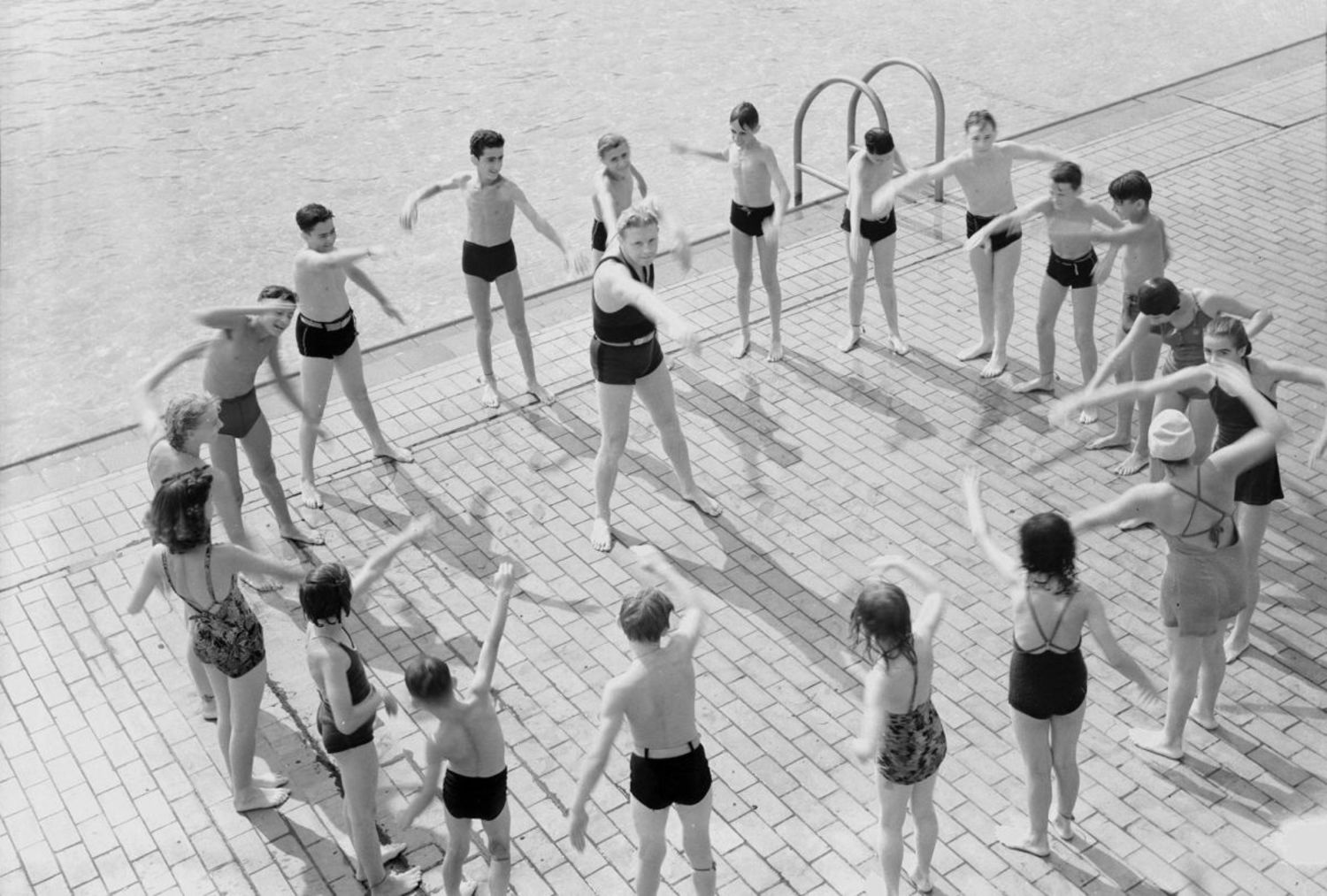 Learn to Swim program at Astoria Pool, Queens, 1940.