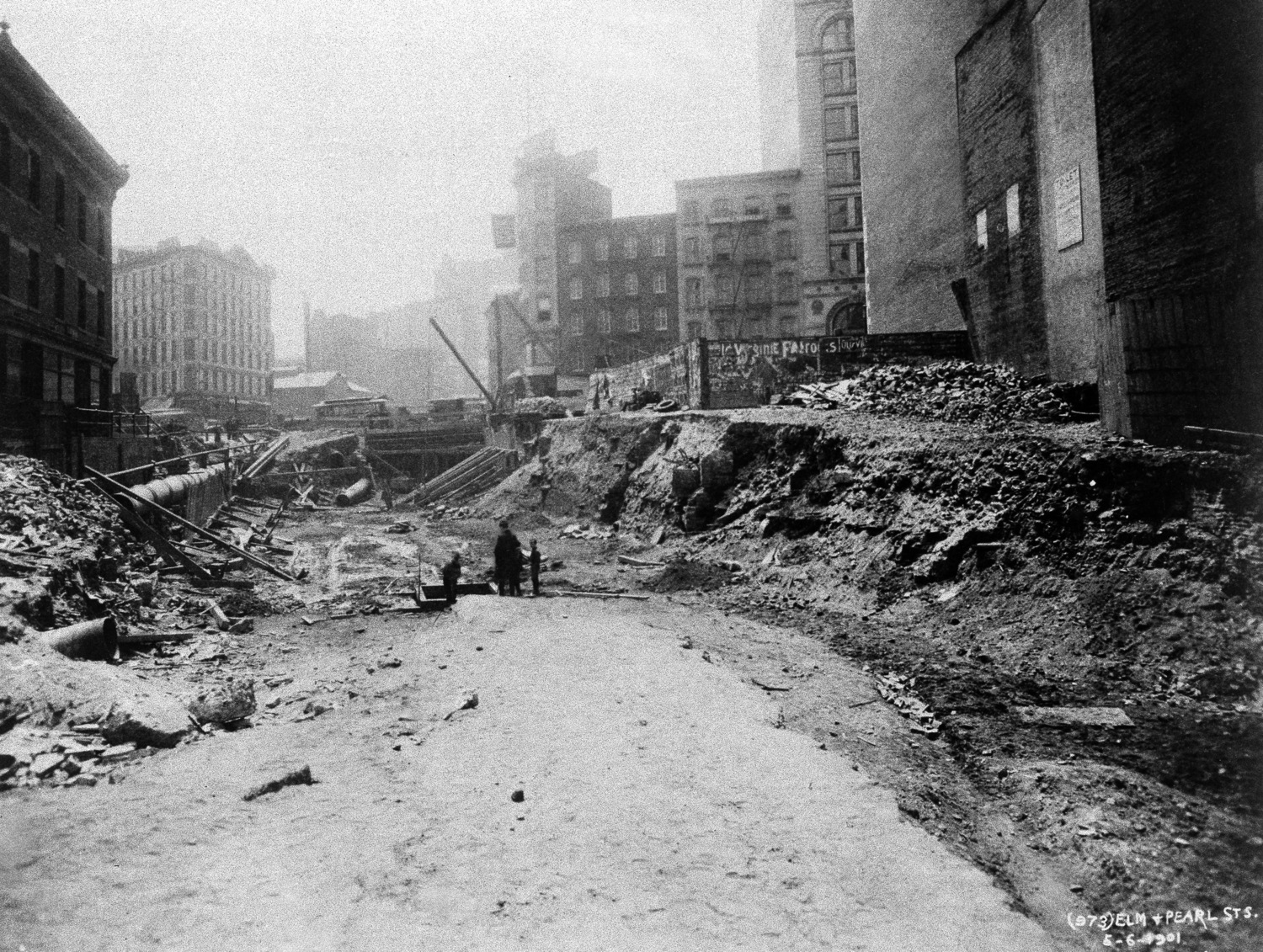 This is excavation at Lafayette Street, then known as Elm Street, near Pearl Street, for New York's subway line, seen May 6, 1901.