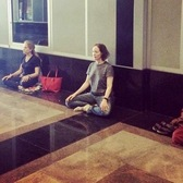 Meditation Class in a Corporate Lobby