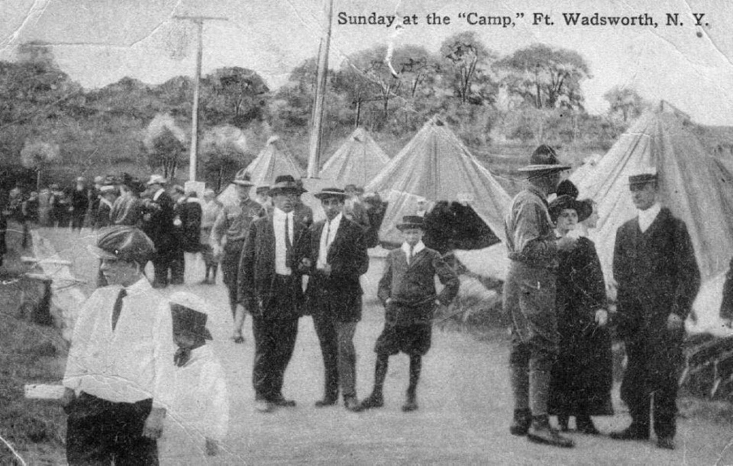 """Sunday at the 'Camp,' Fort Wadsworth."" Photo circa 1917."