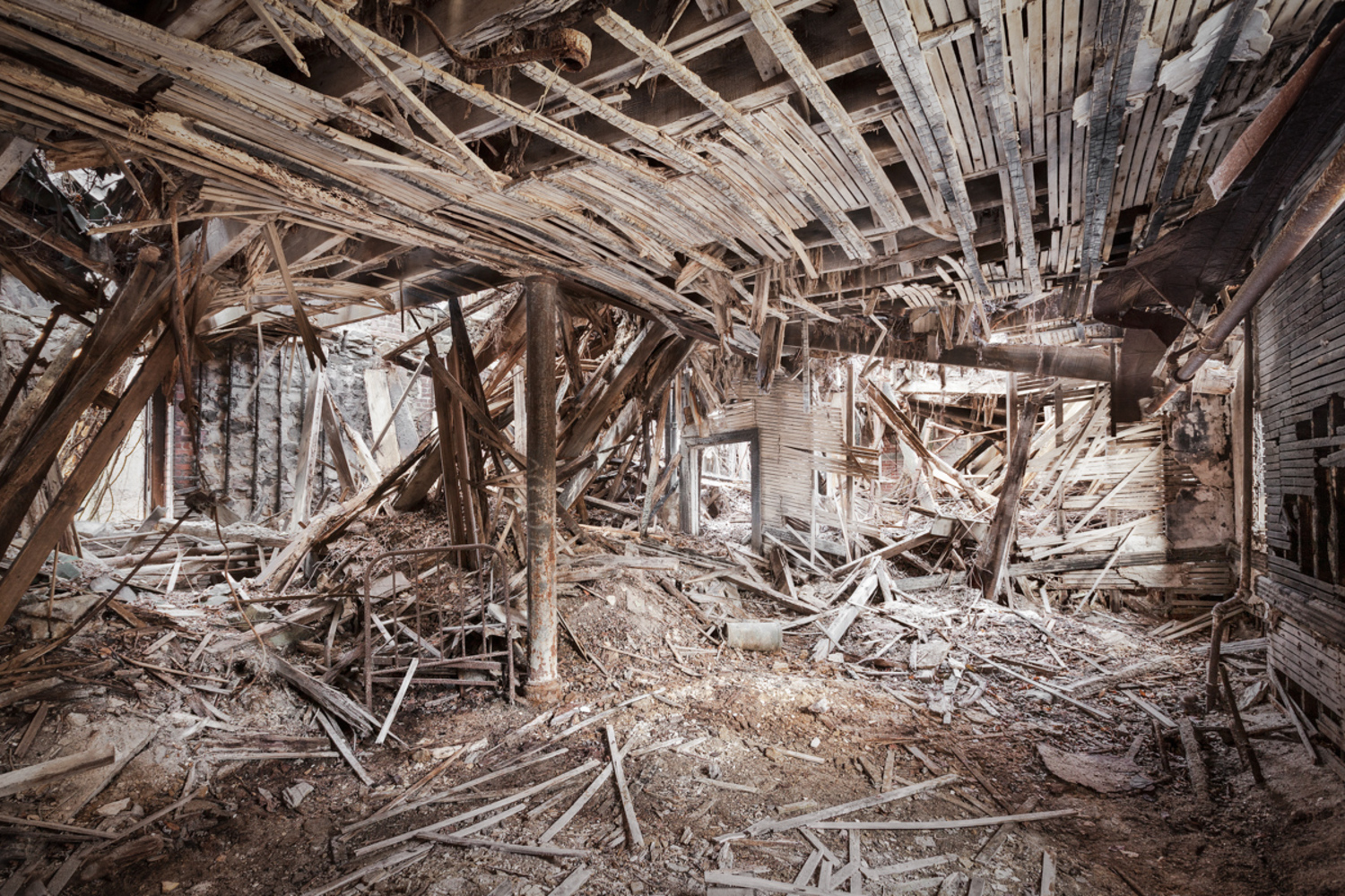 The Staten Island Farm Colony was constructed in the 19th century to house and rehabilitate the city's poor. This was the last room standing in a collapsed dormitory now slated for demolition.