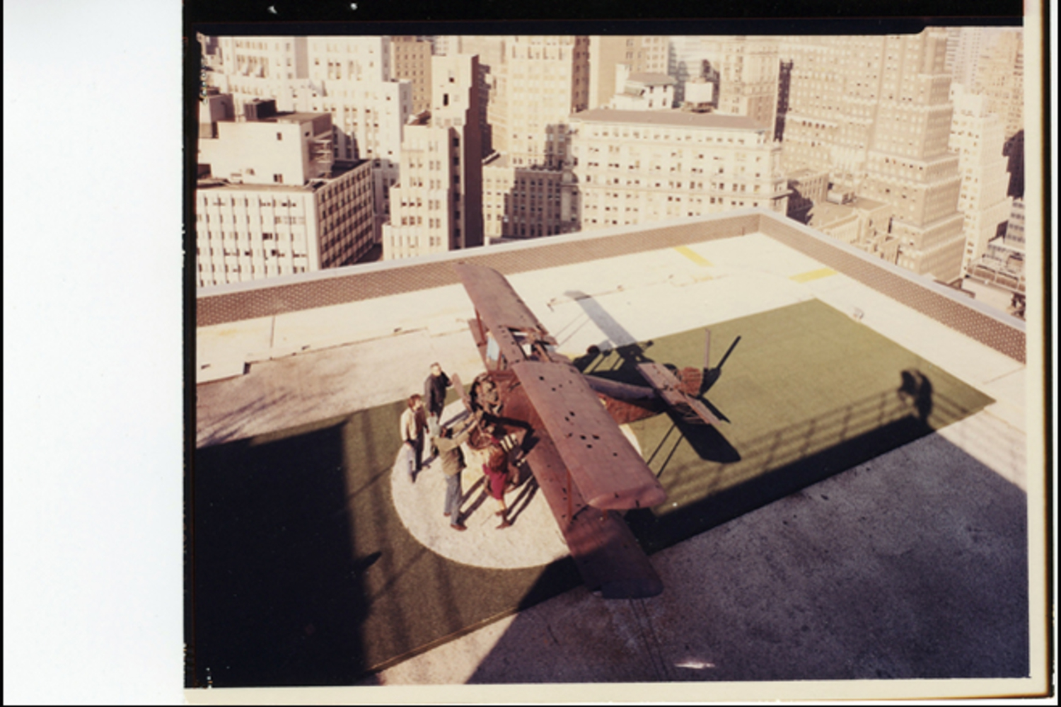 The plane was hoisted into place by crane in 1969 and hasn't moved since. Here, a historic photo from 1969.