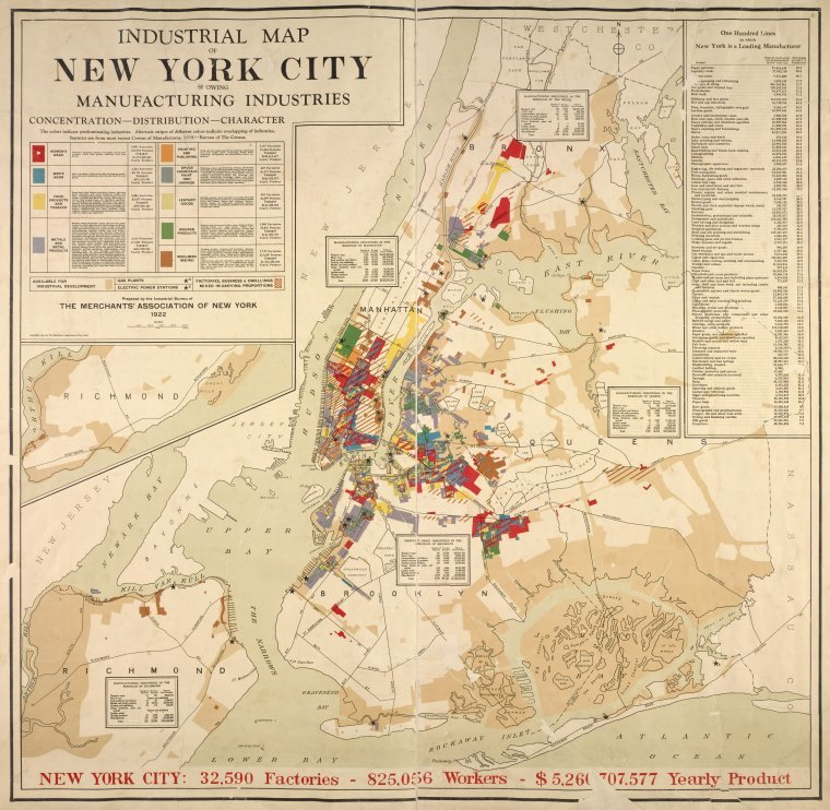 Map Of New York 1850.Industrial Map Of New York City Showing Manufacturing Industries