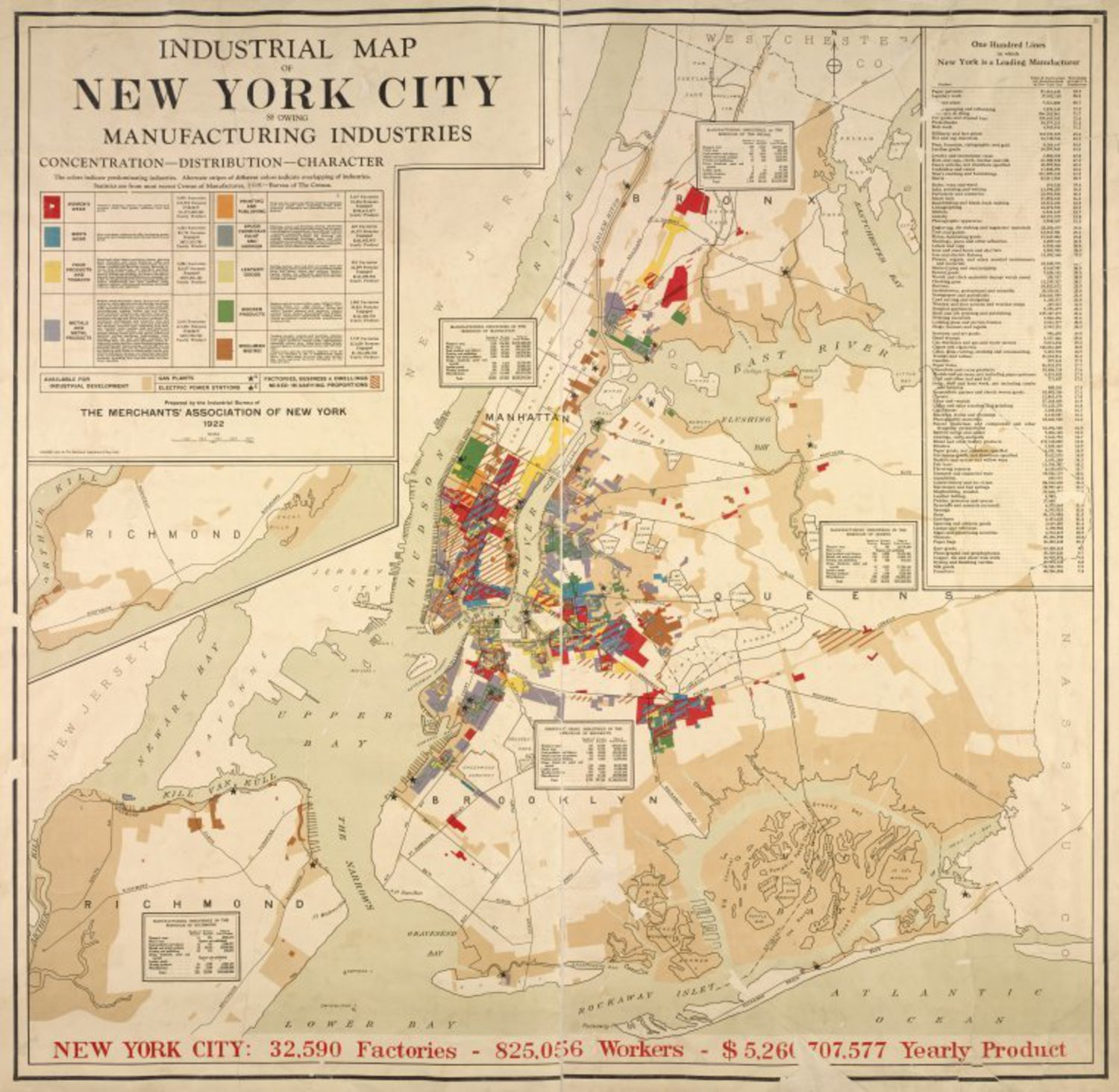 Industrial map of New York City: showing manufacturing industries, concentration, distribution, character