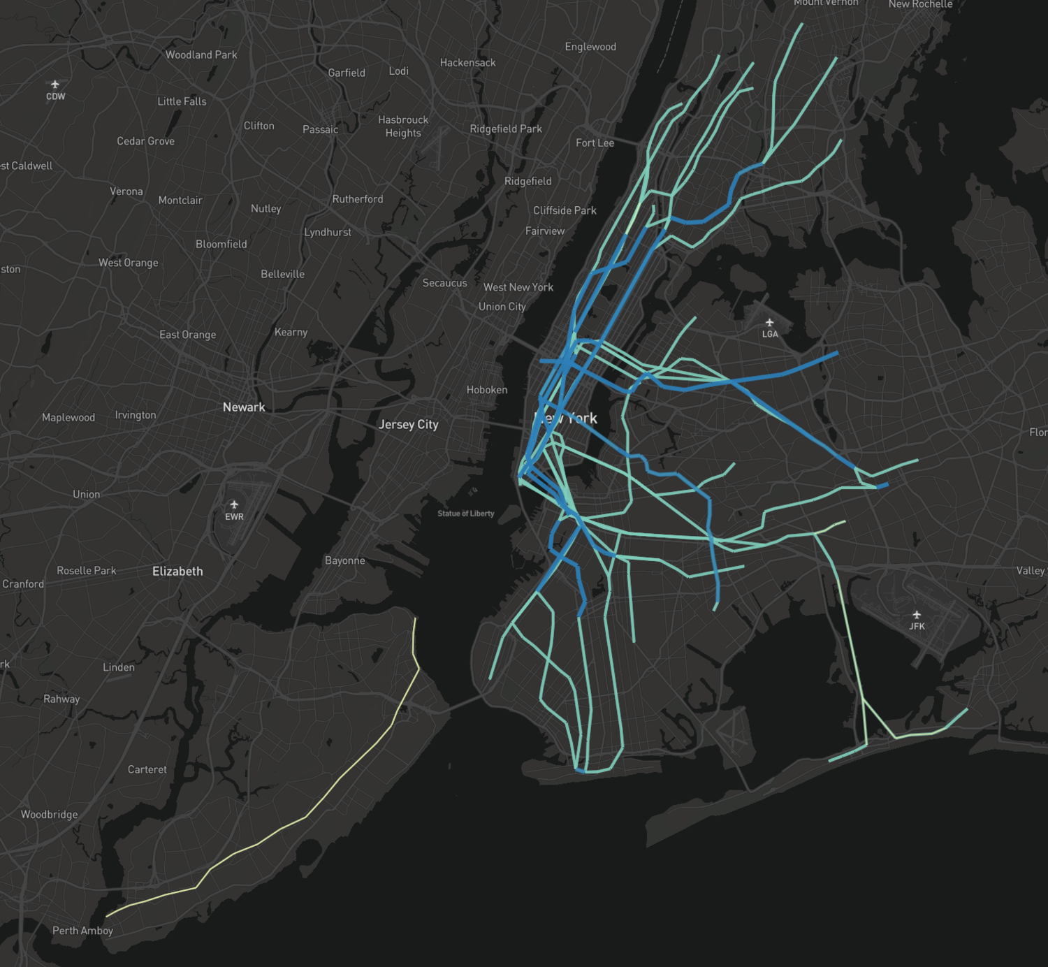 New York City Transit Frequency Map (screenshot)