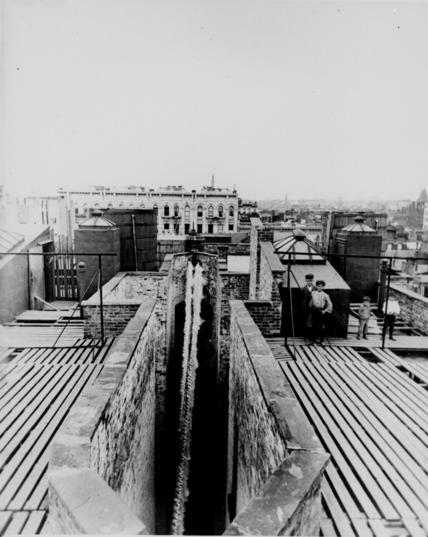 Airshaft of a dumbbell tenement, New York City, taken from the roof