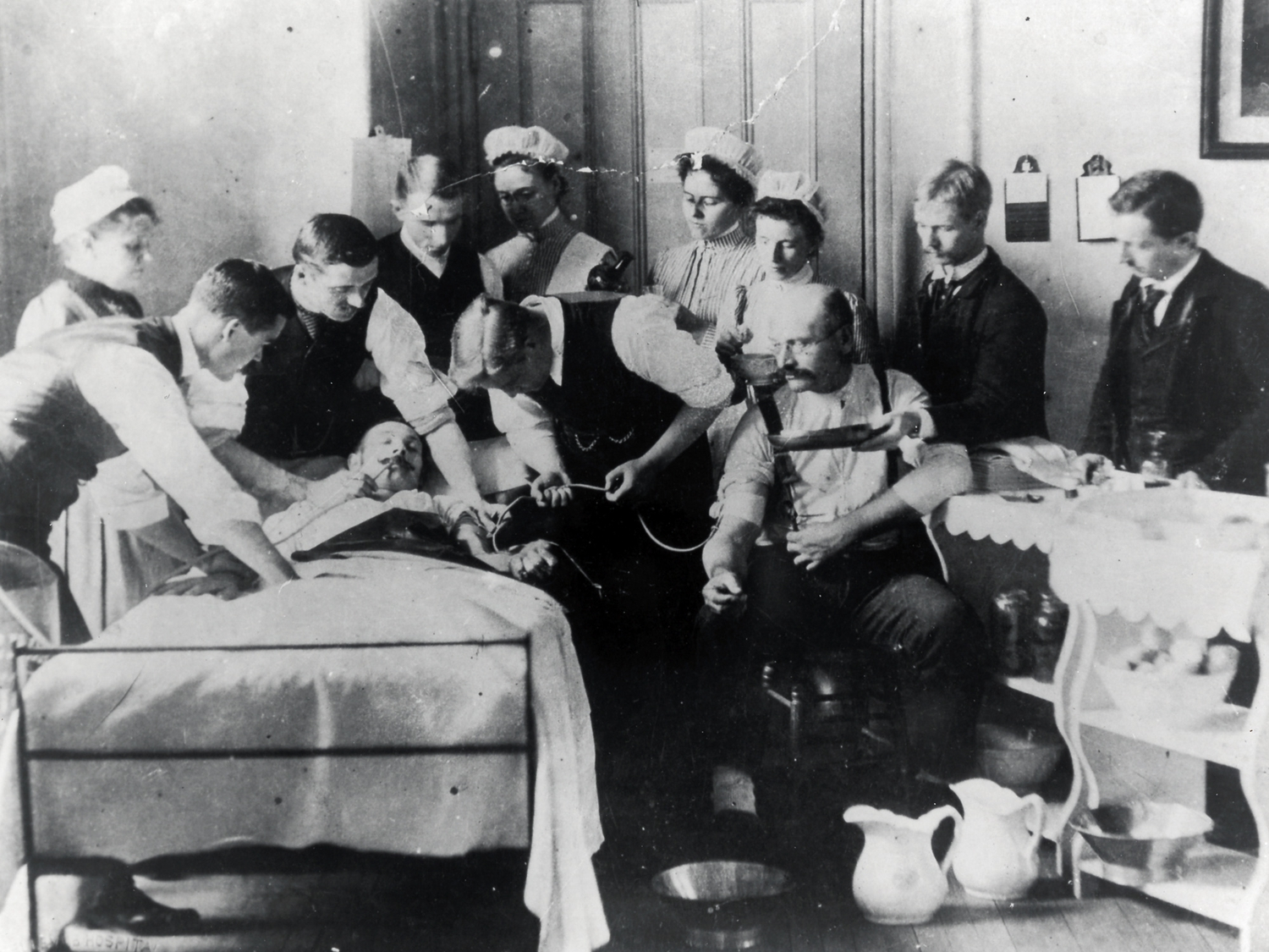 In 1876, O.G. Mason, Bellevue's official photographer, took a carefully staged photograph of a blood transfusion in progress.