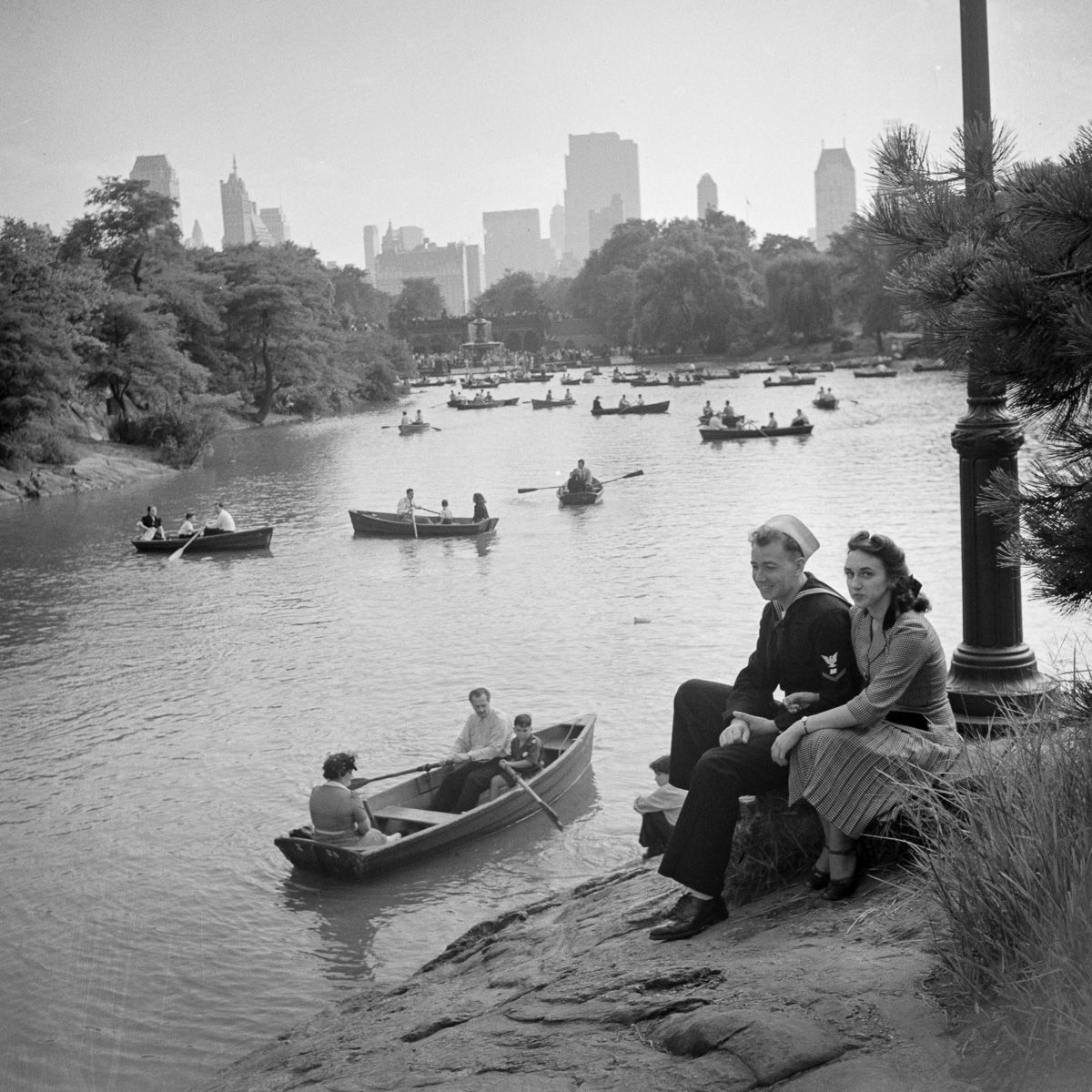 Vintage Park: Vintage Photograph Shows A Busy Central Park Lake In The