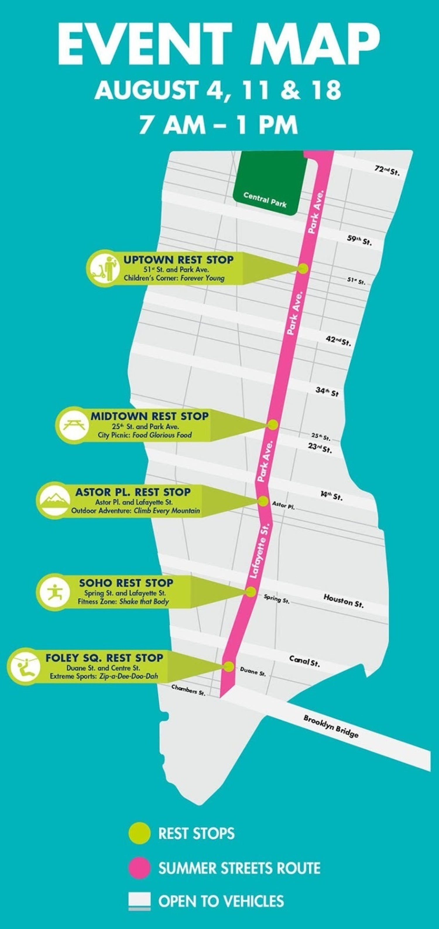 2018 Summer Streets Event Map