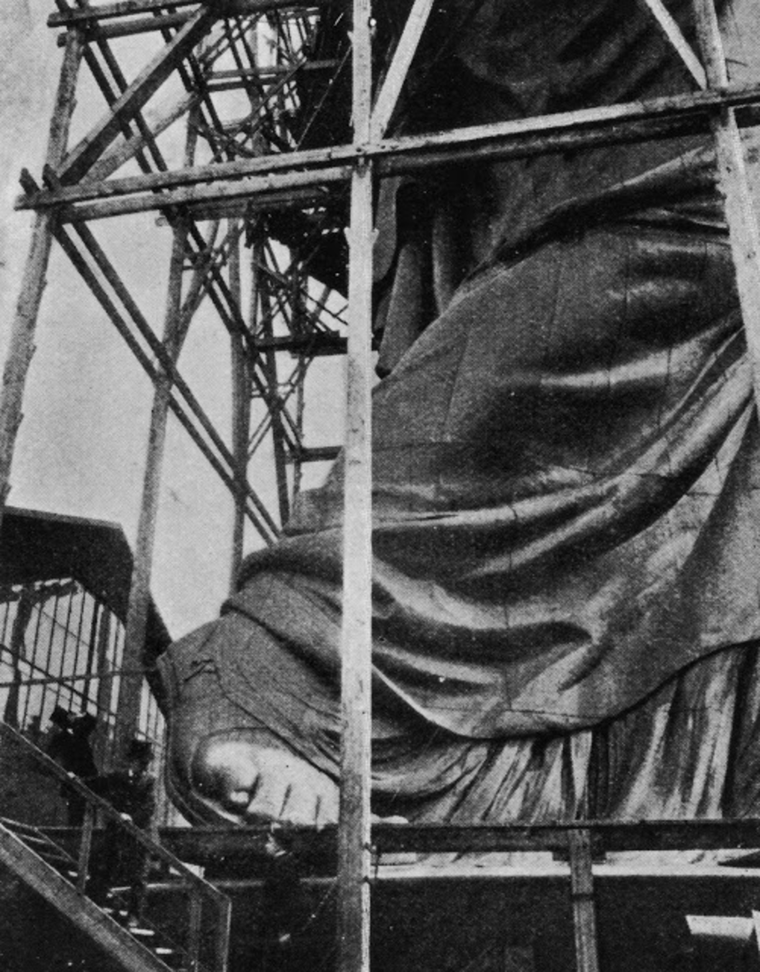 The construction of the Statue of Liberty in Paris, before its journey to the United States, circa 1883.