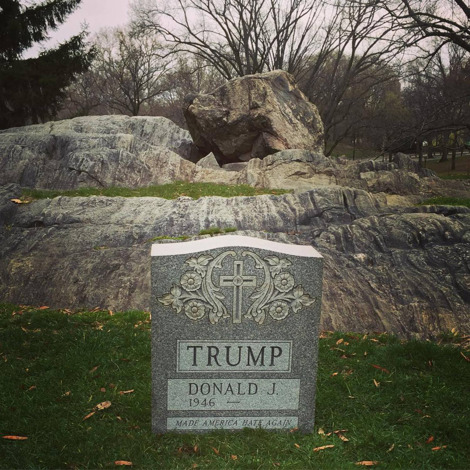 Someone placed an actual Trump tombstone in Central Park