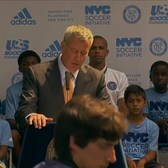 Mayor de Blasio Hosts Event Kicking Off New Soccer Initiative
