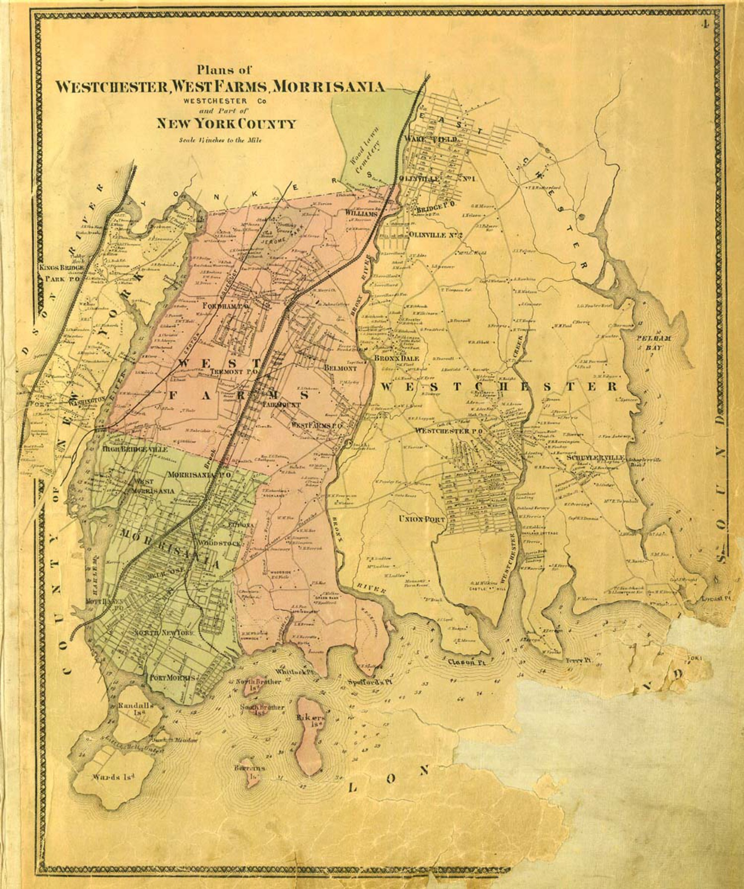 """Westchester, West Farms, and Morrisania"" from the Atlas of New York and Vicinity"