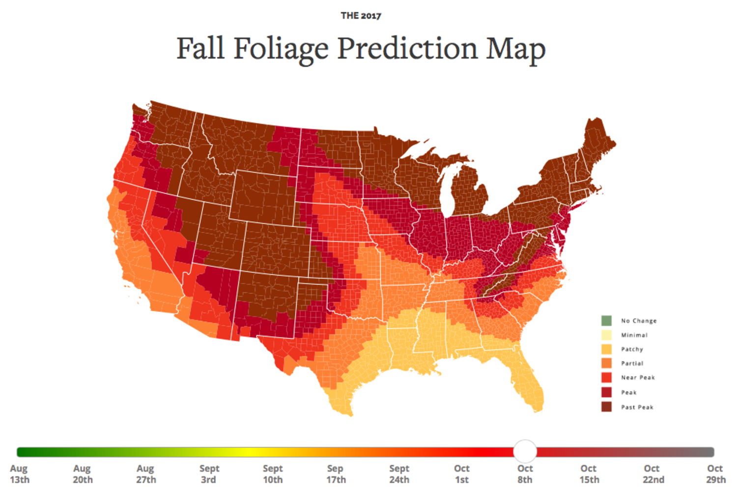 Peak Foliage Map Here's When Fall Foliage Will Hit Its Peak in New York City  Peak Foliage Map