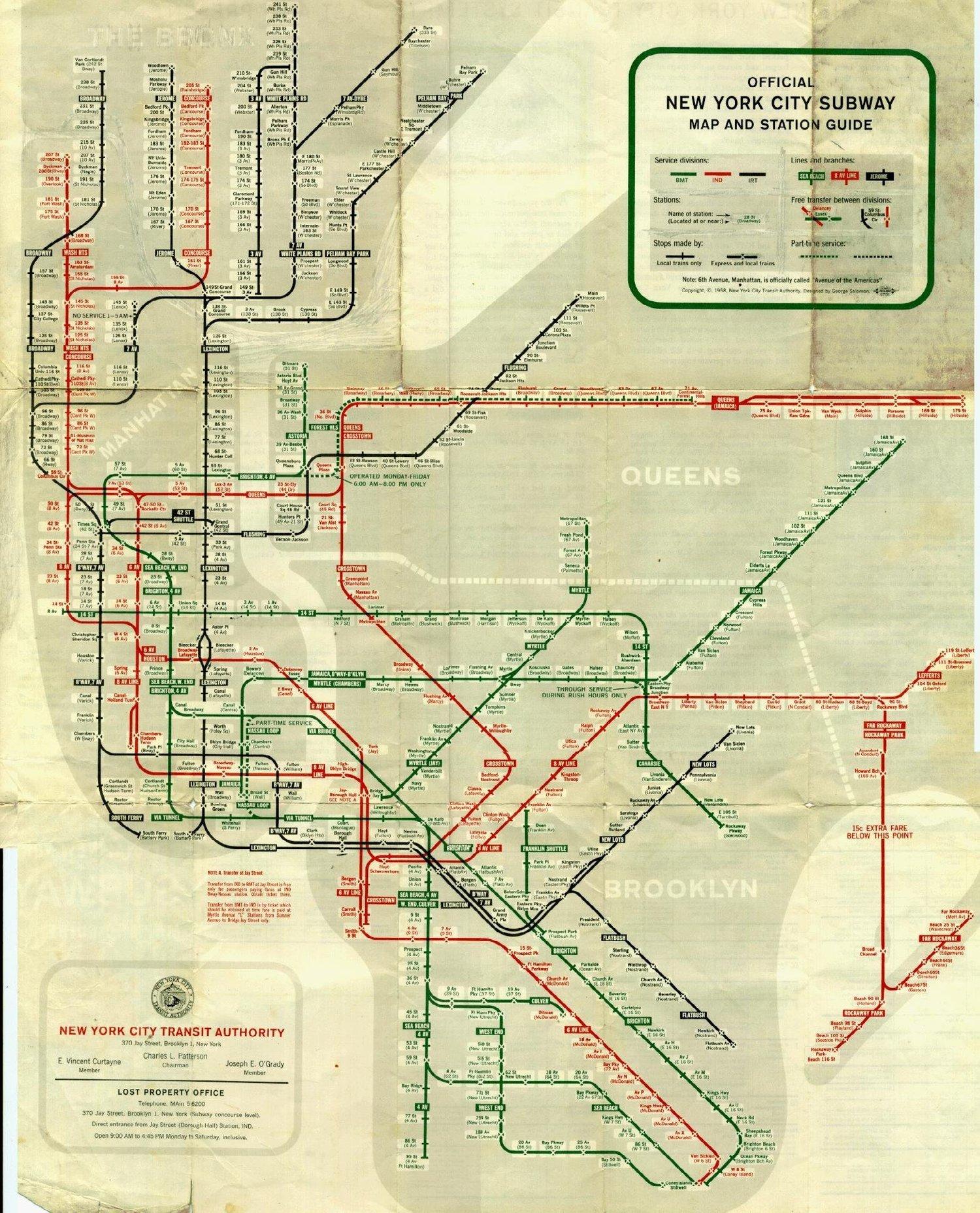 New York City Subway Map, 1958