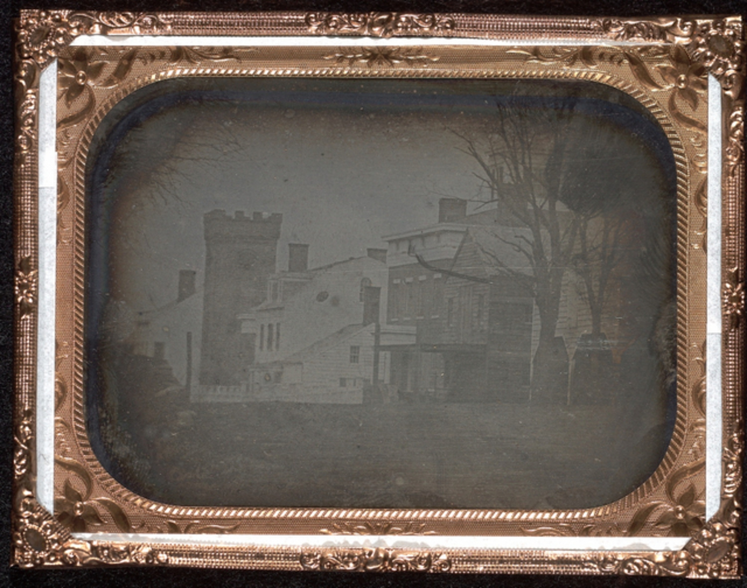 A daguerrotype of the Unitarian Church on the east side of Broadway across Waverly Place. Fall 1839 or winter 1840, by Samuel F.B. Morse and John William Draper