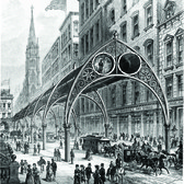 """The inventor Rufus Henry Gilbert's 1870 elevated railway scheme anticipated a number of modern-era rapid transit systems. """"Passengers could waft around town propelled by compressed air, moving through a double row of what Gilbert called 'atmospheric tubes.'"""""""