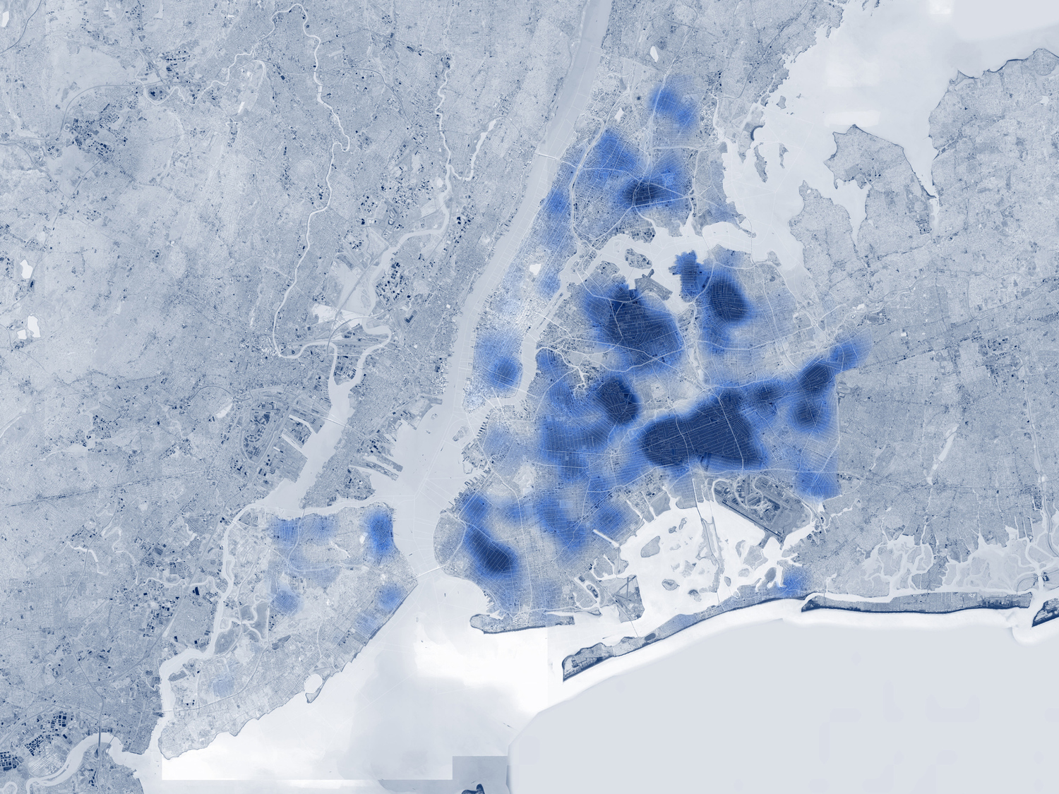 SITU Studio mapped the geographic spread of illegally subdivided, high-density dwellings across New York City based on complaints to the Department of Buildings.