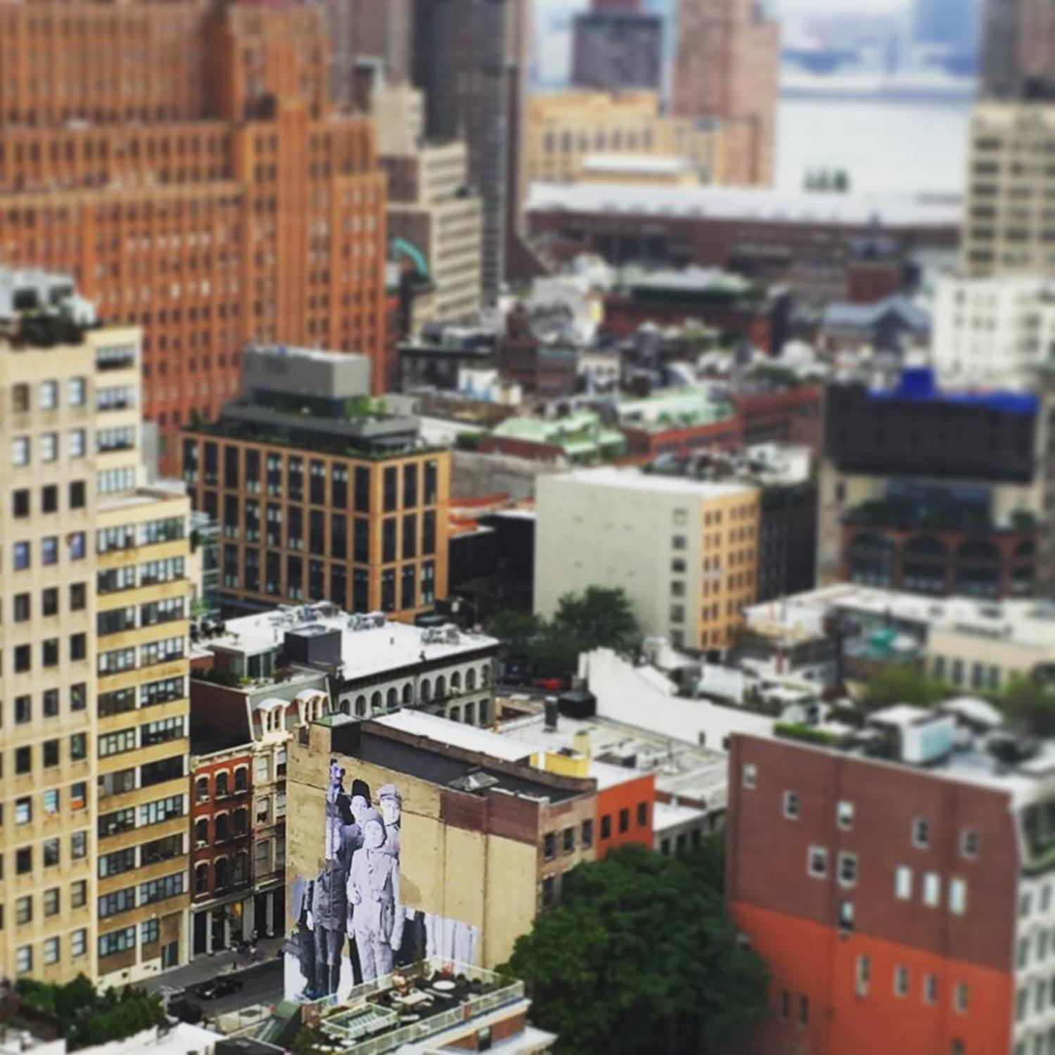 From our @artsy office I can see the new @JR mural up in #Tribeca. #EllisStory #WeAllComeFromSomewhere
