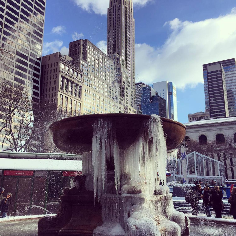 Brrrr. #bryantpark #helena #icicles #nyc