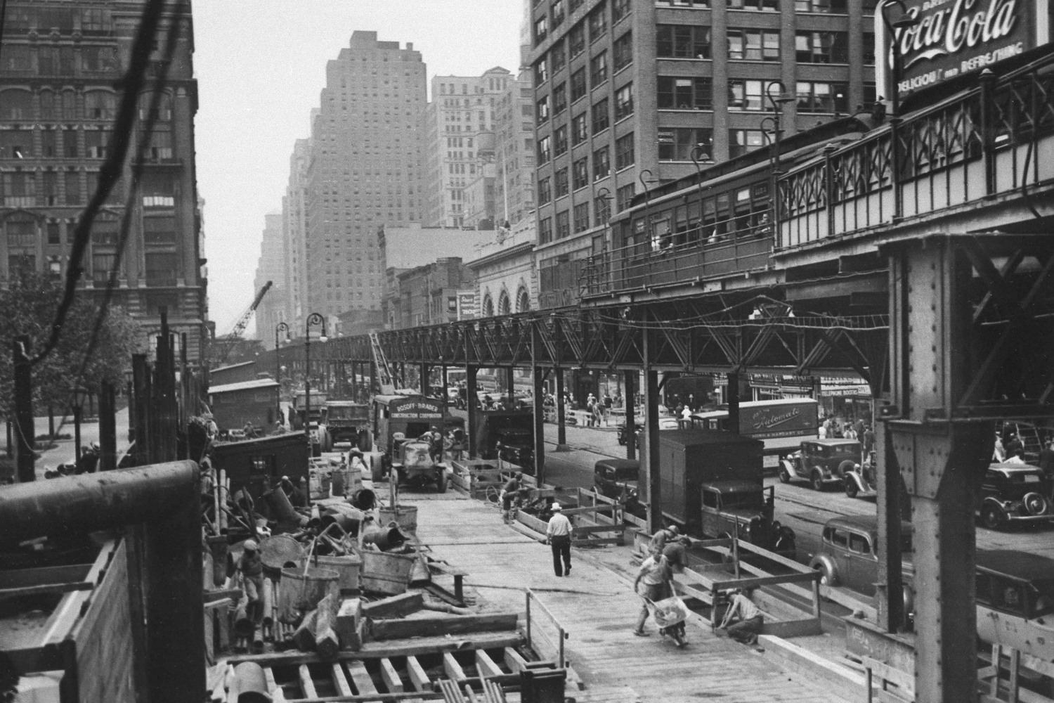 "Work begins for an underground replacement for the Sixth Avenue ""El"" (elevated train), shown looking north from 42nd Street, July 28, 1936. The El is to be demolished in 1939."