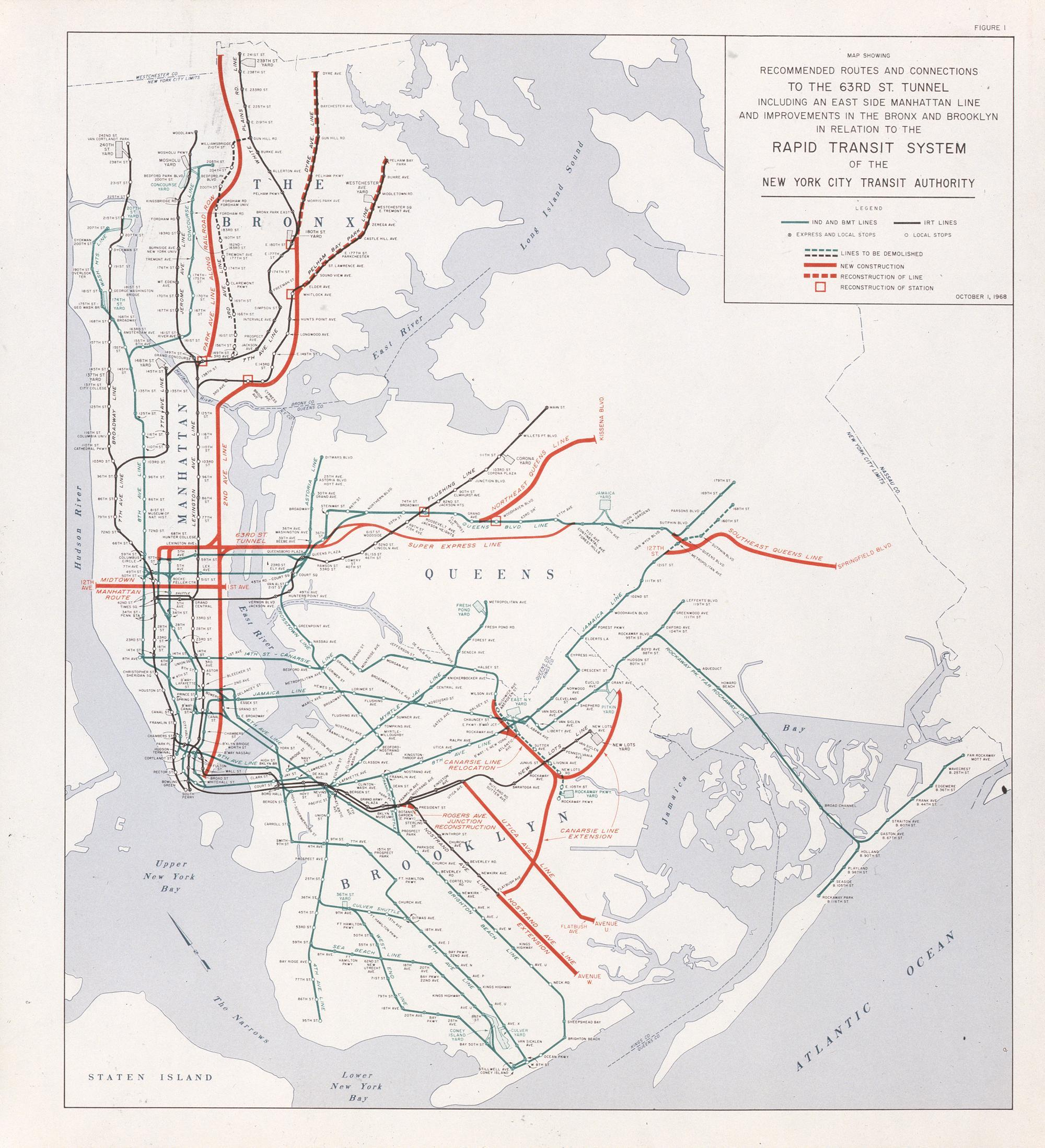 2d Ave Subway Map Nyc.Map Of The 1968 Plan To Build The Second Ave Subway Viewing Nyc