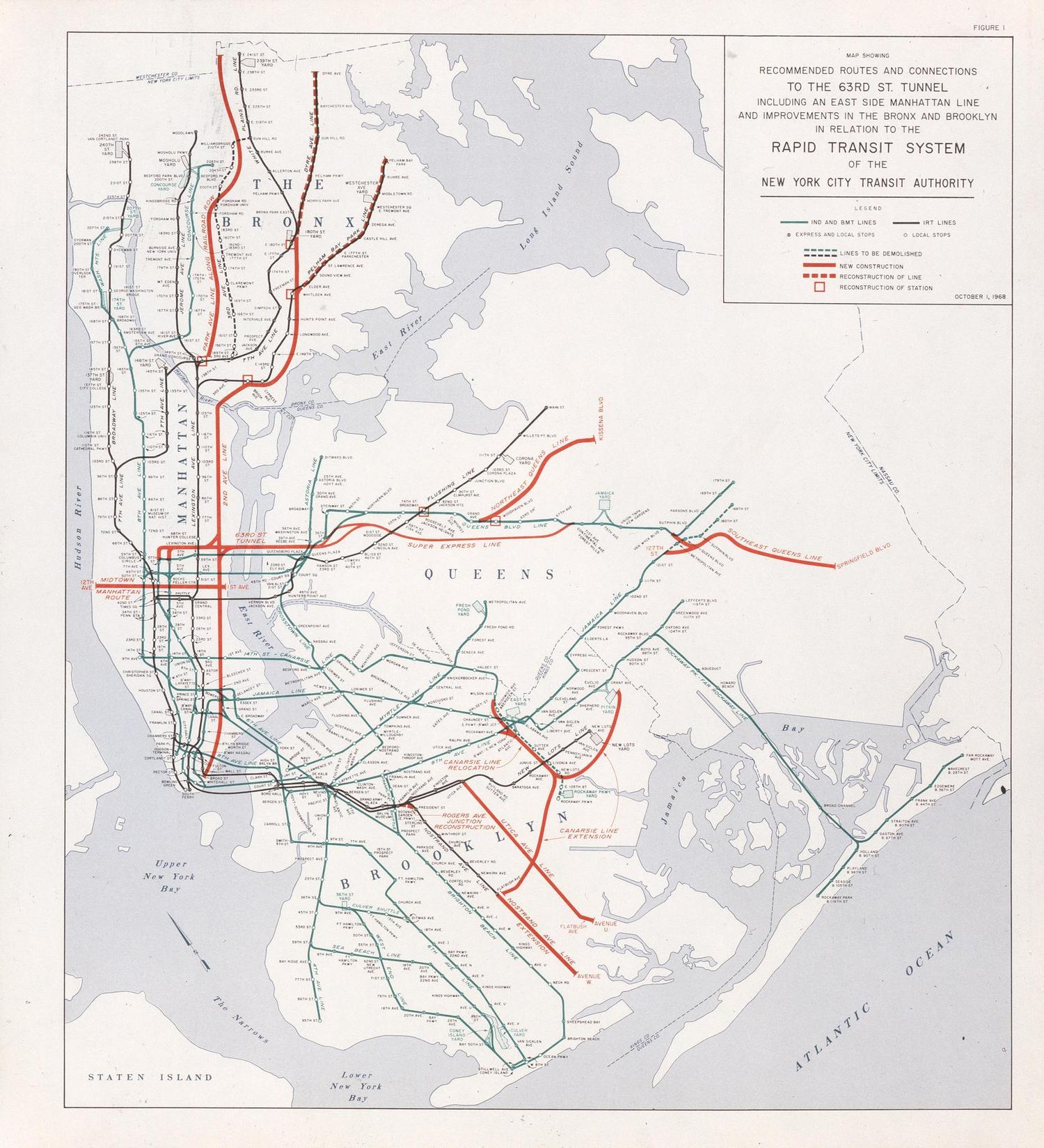 Vintage Nyc Subway Map Shows Old Plan For 2nd Avenue Subway In 1965