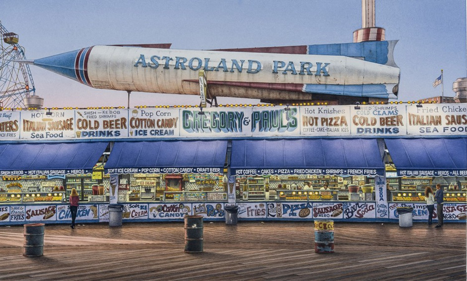 Frederick Brosen, Astroland, 2008–13, watercolor over graphite on paper, Courtesy of Hirschl & Adler Modern, New York. Photograph by Joshua Nefsky; Image courtesy of Hirschl & Adler Modern, New York; © 2013 Frederick Brosen/Artists Rights Society (ARS), New York