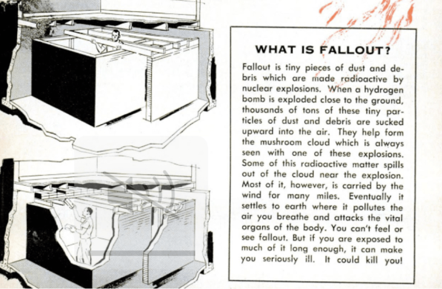 An October 1960 feature in Popular Mechanics provided educational advice on fallout and how to avoid it.